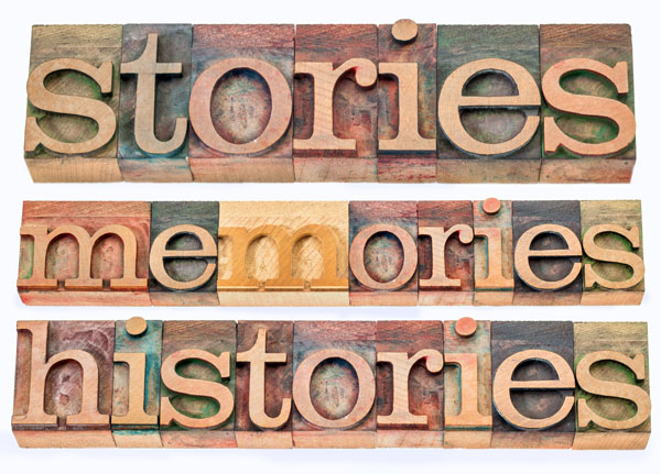 stories, memories, histories words - collage of isolated text in letterpress wood type printing blocks